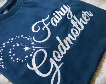 Fairy Godmother Shirt in glitter- Will you be my Nanny? -Bippity Boppity Boo - Nanny gift - Nanny shirt- Godmother gift - Nanny present