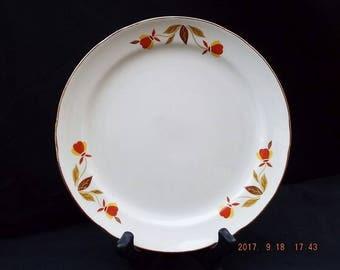Vintage 1938 Dessert/Pie Plate with Jewel Tea Autumn Leaf Pattern, Fine China, Fall Dinnerware, Hall Superior, Thanksgiving Dinnerware.