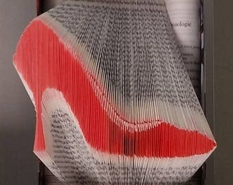 "Wall hanging pattern red pump - folded book ""Madame"""