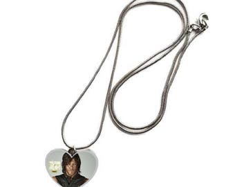 The Walking Dead Daryl Dixon Norman Reedus  heart shaped Silver Tone Necklace