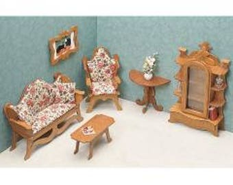 "Dollhouse Furniture Kit--Living Room, 1"" =1'  Unfinished Wood--Make Into Any Decor Style"