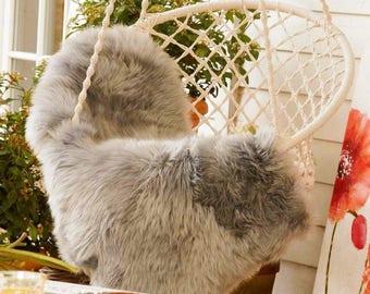 Sheepskin. Grey sheepskin. Natural Sheepskin Rug. Super Soft Silky Long Wool. Long hair.