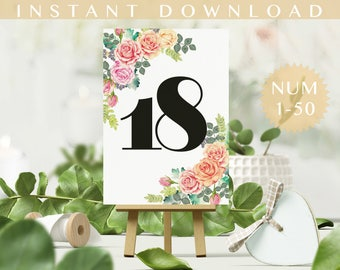 Wedding Table Number 1-50  PDF Non editable. Dinner table number, Party table number