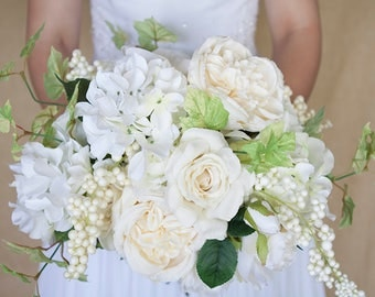 Cream Wedding Bouquet, Ivory Bridal Bouquet, White Bouquet, Silk Flower Bridal Bouquet, Bridal Bouquet, Hydrangea Bouquet, Rose Bouquet