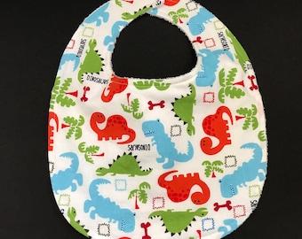 Toddler's Bib, Terry Cloth Toddler's Bib, Little Boy's Bib, Toddler's Dinosaur Bib, Bib for Toddlers, Cotton & Terry Cloth Toddler's Bib