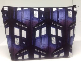 "Doctor Who Zipper Pouch ~ Tardis Cosmetics Bag ~ Police Call Box Stand Up Pouch ~ Essentials/Accessories Pouch Large 9""x 6""! Last One!"