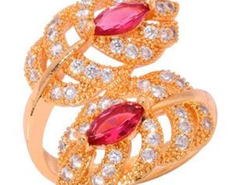 Gold filled leaf ring Red Kinzite stones