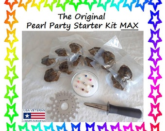 Pearl Party Starter Kit W/ 20 Unopened /Vacuum Packed Akoya Oysters, Pearl Sizer Gauge, Towel, Glass Bowl, Salt, Shucker! FREE Shipping!