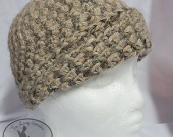 Handspun Crochet Wool Hat- Alpaca/Sheep Wool