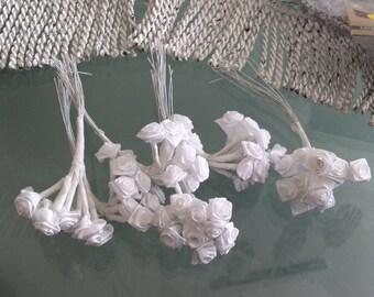 6 12 white d 1 cm flower rose stem