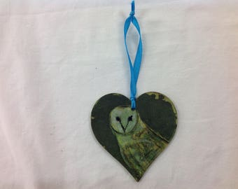 Hand printed and painted barn owl decoration