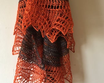 brown shawl with orange lace