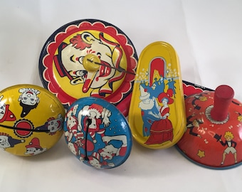 Noise Makers,Vintage,Tin,Metal,1950s,Litho,New Years