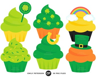 50% OFF SALE! St Patrick's Day Clip Art, Cupcakes Clipart, Holiday Cupcakes Clip Art - Commercial Use, Instant Download