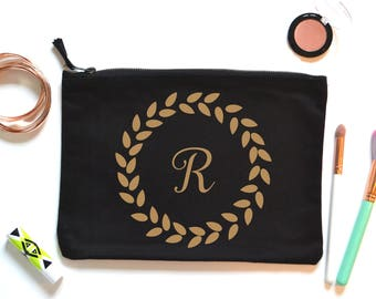 Monogram make up bag, gift for bridesmaids, initial bridesmaid gift, personalized wash bag, birthday present for her, make up lover,