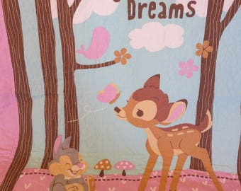 Gift for girl, Bambi Quilt, Bambi Blanket, Baby Bambi Quilt, Lap Quilt, Wall Hanging