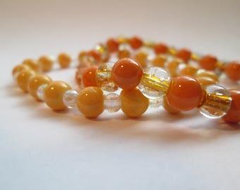 Yellow and Orange Conrasting Bracelet Pair