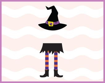Witch Legs and Hat Svg, Halloween Svg, Witch Svg, Monogram Frame, SVG, Eps, Dxf, Png, Cutting Files to use with Cricut & Silhouette