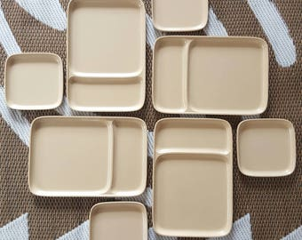 MID CENTURY ROSTI Lot of Plates, Saucersx4, Set of 8, Cafe Au Lait, Falle Uldall, Made in Denmark Danish-2365, Picnicware, Melamine, Vintage