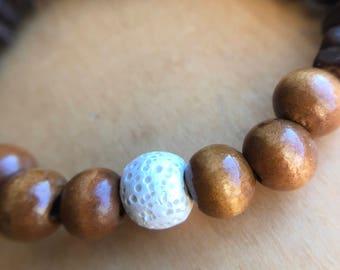 Wooden Bracelet, Aromatherapy Bracelet, Essential Oil Bracelet, Diffuser Bracelet, Golden Brown, Wood Chip