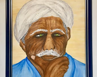 Acrylic paint the old man and wisdom