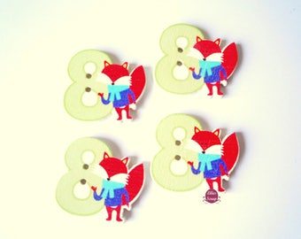 2 adorable Figure 8 with Fox - 2 hole buttons
