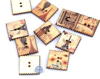 8 buttons vintage wooden Paris, Eiffel Tower, Arc de Triomphe wood buttons - 2 holes