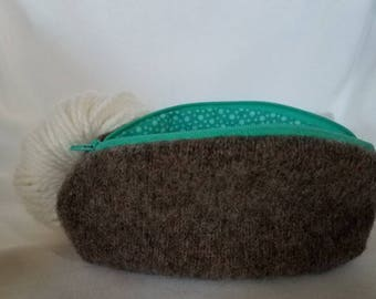 Upcycled Felted Wool Small Notions Bag