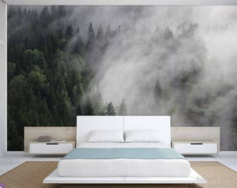 FOREST WALL MURAL, foggy mountain wallpaper, pine forest foggy, mountain foggy, mountains wall mural, foggy mountain wall mural, foggy decal