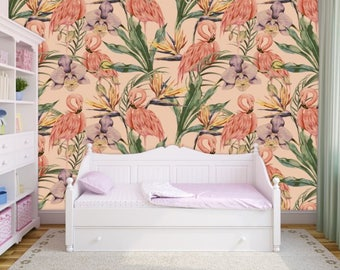 oil painting floral vintage, flamingo wallpaper, flamingo wall mural, flamingo wall decal, kids room decal, flamingos, tropical wallpaper