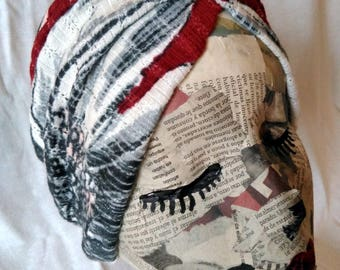 floral red and white turban