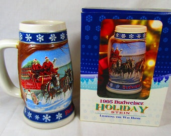 1995 Budweiser Holiday Stein Lighting the Way Home made by Cremarte in Brazil