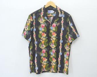 Hawaiian Shirt Hawaiian Tee Vintage 90s RJC Button Down Hawaiian Aloha Honululu Shirt Activewear Made in usa Size M