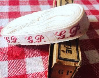 Old washerwoman with G.P. initials woven Ribbon with red thread. Sewing notions. Antique french ribbon. White and red. 1930's