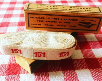 Old Ribbon laundress with number 151 woven thread. french antique ribbon. White and red. 1930's haberdashery.