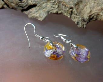Button flower petal earrings