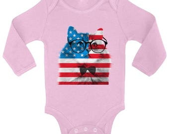 USA Flag Cat Baby Long Sleeve Bodysuits Tops Bodysuit American Flag Hipster Cat 4th of July Independence Day