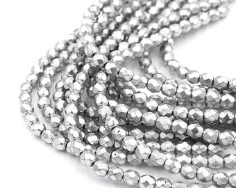 """Two 7"""" Strands,  Matte Silver Czech 6mm Fire-polished Faceted Round Beads"""