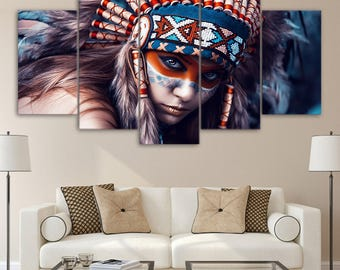 Indian maiden with birds large wall decor