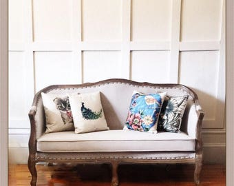 Curved, upholstered Victorian-styled French settee/loveseat/sofa