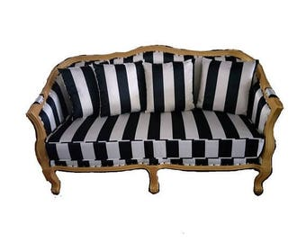 ON SALE Striped Charlotte curved victorian-styled sofa/settee/love seat