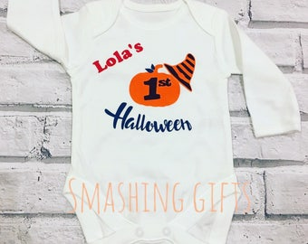 Personalised childs bodysuit/vest first halloween