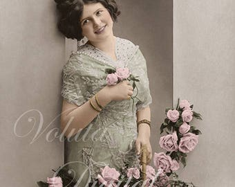 Adorable woman with roses. Digital download  -  Edwardian Vintage Postcard.