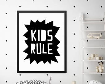 Kids Rule Print, Boys Room Decor, Girls Room Decor, Kids Wall Art, Kids Room Decor, Kids Wall Decor, Childrens Wall Art, Quote Prints