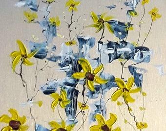 "Fleurs jaune 12"" x 8"" peinture acrylique sur aluminium à l'état naturel / Yellow flowers 12 in x 8 in acrylic painting on natural aluminum"