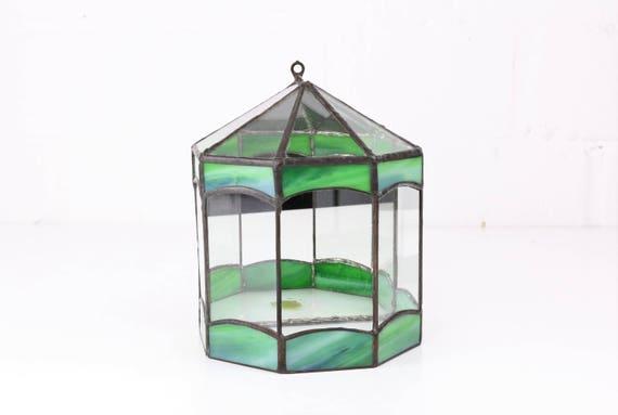 Vintage miniature Greenhouse glass art Tiffany art Miniature Glass House