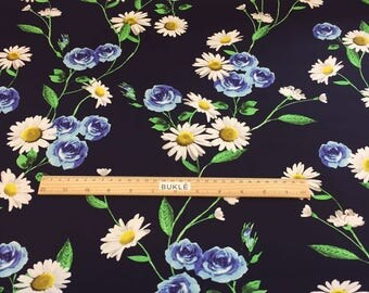 COTTON D&G Fabric by the Yard Printed Cotton Fabric Floral Print Fabric Flower Print Fabric Satin Fabric