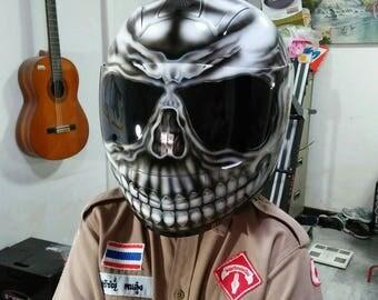 Custom airbrushed painted full face motorcycle helmet