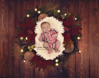 Newborn Christmas Digital Background - Wreath - Hanukkah - Newborn - Baby - Christmas - Holiday - Photography Digital Backdrop - Photo Prop