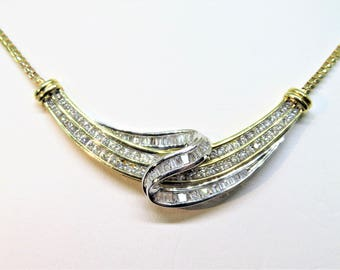 Vintage ADL 10KY Baguette & Round Diamond Stationary Necklace 18""
